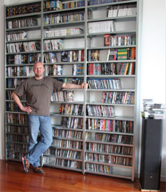 Collectorz.com founder Alwin Hoogerdijk showing his collection of 502 DVDs, 738 CDs and 321 video games.