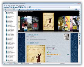 The Book Collector Boeken collection database programma in Cover Flow View. Klik hier voor meer scherm-afbeeldingen.