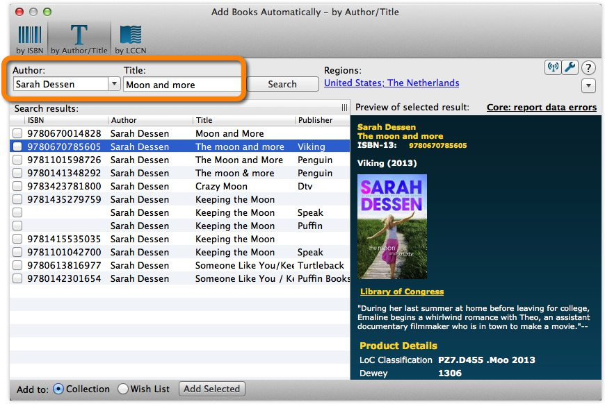Add Books Automatically by Author and Title