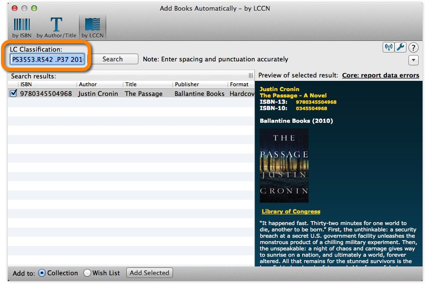 Add Books Automatically by LC Classification