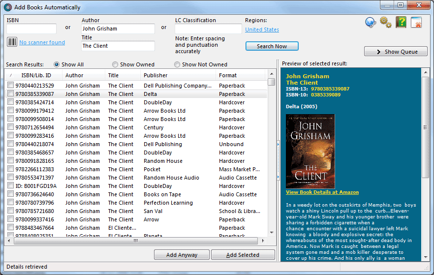 Add Books to your book database Automatically