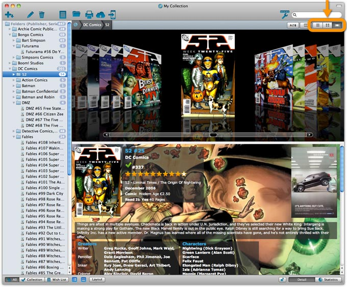 Main Screen in Cover Flow View