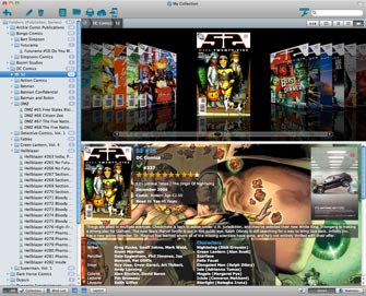 Main screen in Publisher and Series folders / Cover Flow View