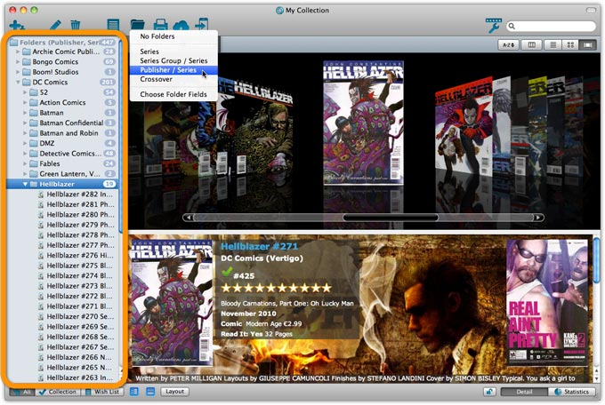 Main Screen with Publisher Folders