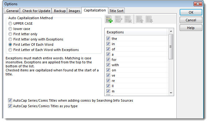 Auto Capitalization settings