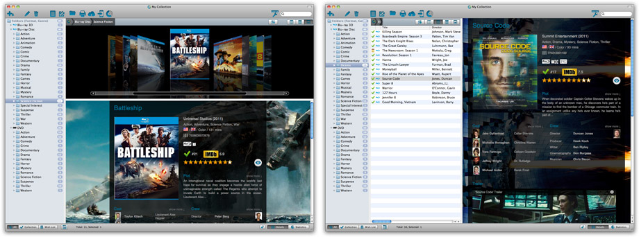 Example main screen layouts