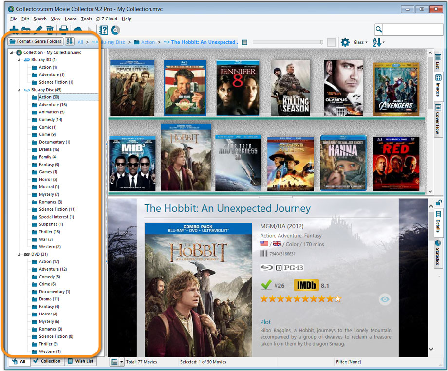 Main Screen with Format, then Genre Folders