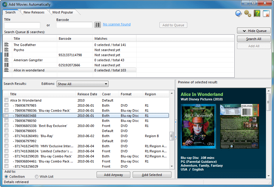 Add movies using the online Blu-Ray and DVD database
