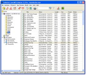 The MP3 Collector Music file database and tagging software in Cover Flow View. Click for more screenshots.