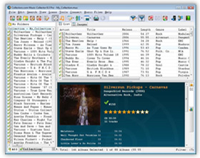 The Music Collector CD Cataloging / Music File Database Software in List View. Click for more screenshots.