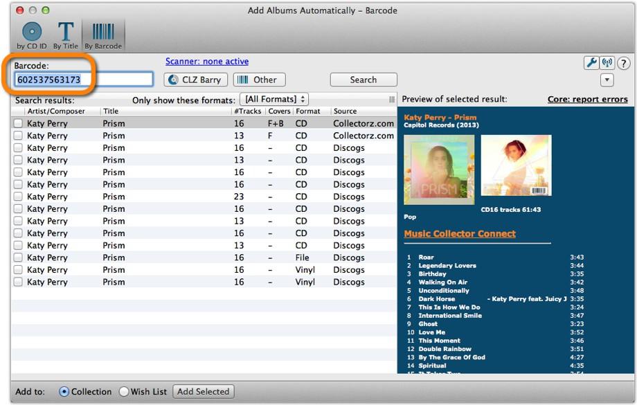 Add CDs Automatically by barcode