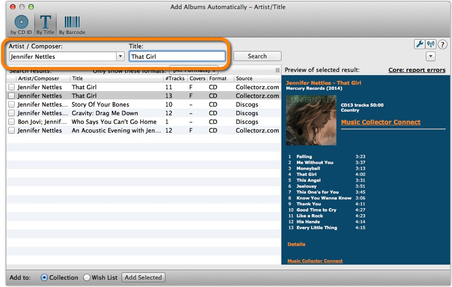 Add Albums Automatically by Artist and Title