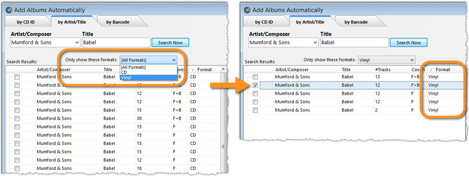 Add Albums Automatically - Format Filter