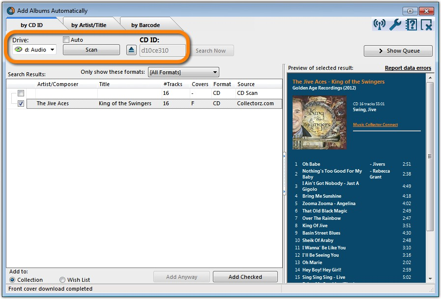 Add CDs Automatically by inserting them in your computer