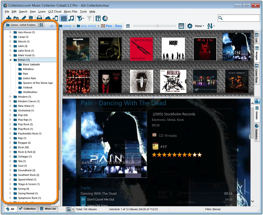 Main Screen with Genre and Artist Folders