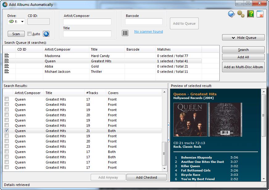 Alben automatisch hinzufügen. Automatisch Daten und Cover aus der Online-Datenbank herunterladen.