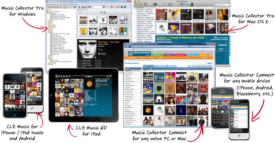 Music Collector for Windows, Mac OS X and iPhone